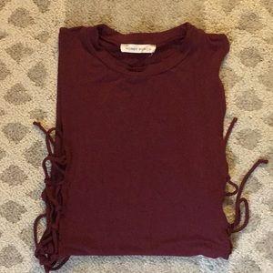 Honey punch burgundy lace up bodysuit